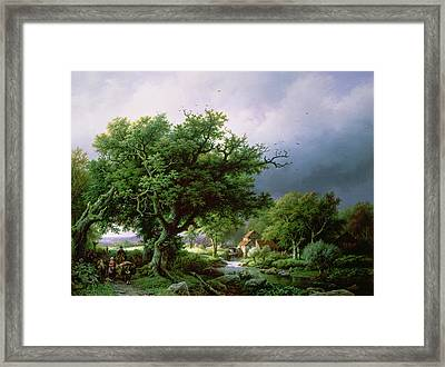 Landscape With A Mill Framed Print by Barend Cornelis Koekkoek