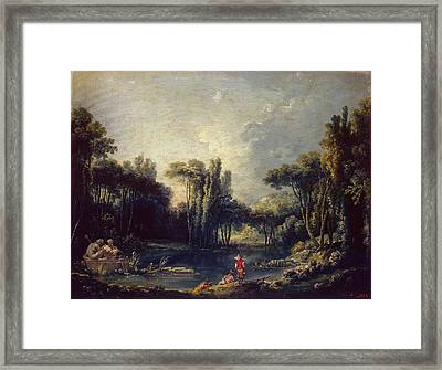 Landscape With A Pond Framed Print