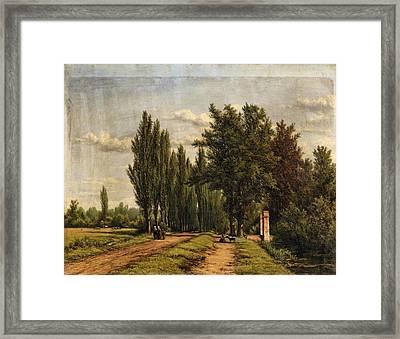 Landscape With A Poplar Lined Avenue Framed Print by Jan Willem van