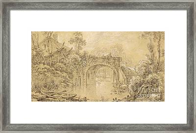 Landscape With A Rustic Bridge Framed Print by Francois Boucher