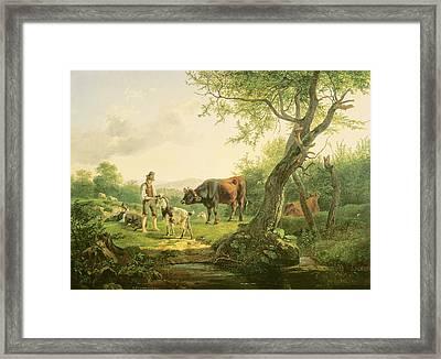 Landscape With A Shepherd Framed Print by Friedrich Gauermann
