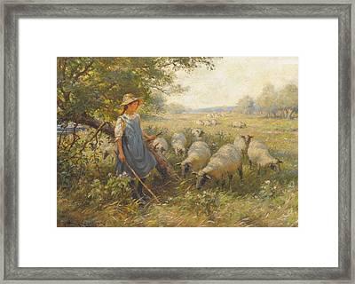 Landscape With A Shepherdess Framed Print by MotionAge Designs