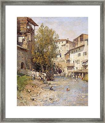 Landscape With A Village On The Outskirts Of Rome Framed Print