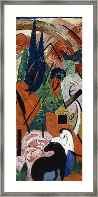 Landscape With Animals And Rainbow Framed Print by Franz Marc