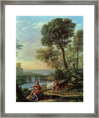 Landscape With Apollo And Mercury Framed Print by Claude Lorrain