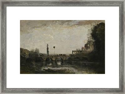 Landscape With Bridge Framed Print by Jean-Baptiste-Camille Corot