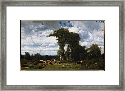 Landscape With Cattle At Limousin Framed Print by MotionAge Designs
