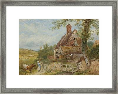 Landscape With Cottage, Girl And Cow Framed Print