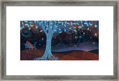 Landscape With Couple Snuggling And Tree Framed Print