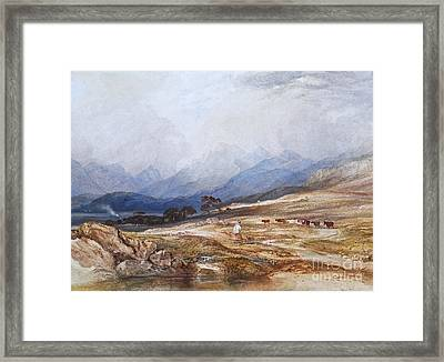 Landscape With Drover And Cattle Framed Print by Celestial Images