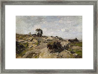 Landscape With Dunes And A Horse Drawn Cart Framed Print by MotionAge Designs