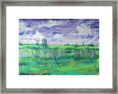 Landscape With Fence Framed Print by Rollin Kocsis