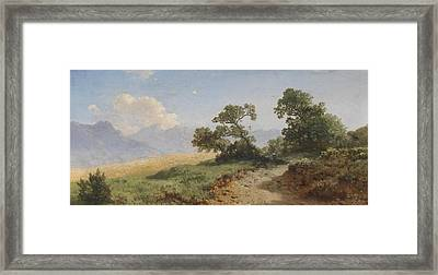 landscape with figural Masked Framed Print