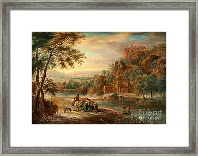 Landscape With Figures And Buildings Framed Print