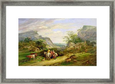 Landscape With Figures And Cattle Framed Print by James Leakey