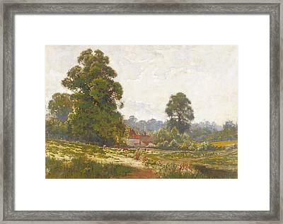 Landscape With Figures Fishing Framed Print by George Pontin