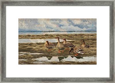 Landscape With Geese Framed Print by Celestial Images