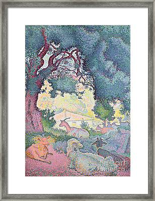 Landscape With Goats Framed Print