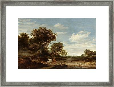Landscape With Gracing Cows And Sheep Framed Print by Celestial Images