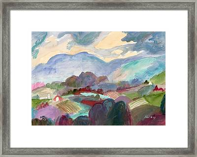 Landscape With Hills And Farms  Framed Print