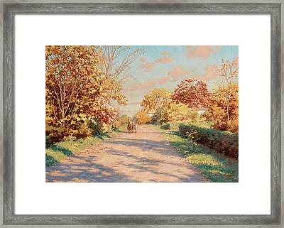 Landscape With Horse And Cart Framed Print by MotionAge Designs
