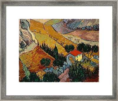 Framed Print featuring the painting Landscape With House And Ploughman by Van Gogh