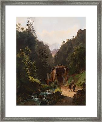 Landscape With Mill Framed Print by Mountain Dreams