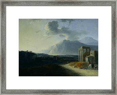Landscape With Mount Stromboli Framed Print by Willem Schellinks