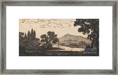 Landscape With Mountain And Lake Framed Print