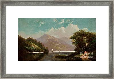 Landscape With Mountain Lake And Figures Framed Print