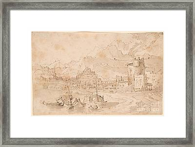 Landscape With Mountains And A Harbor Town Framed Print