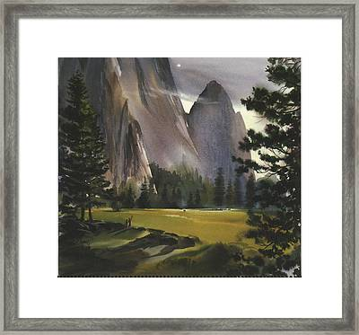 Landscape With Mountains And Evergreen Framed Print