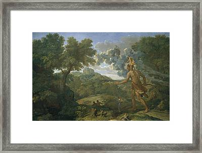 Landscape With Orion Or Blind Orion Searching For The Rising Sun Framed Print