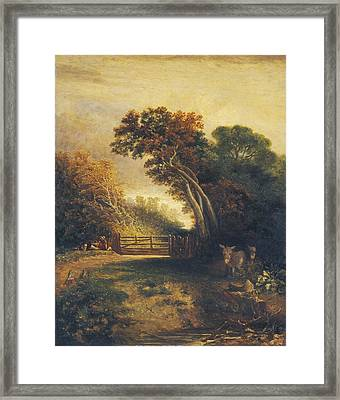 Landscape With Picnickers And Donkeys By A Gate Framed Print by Attributed To Joseph Paul
