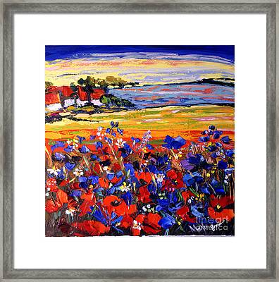 Landscape With Poppies Framed Print by Maya Green