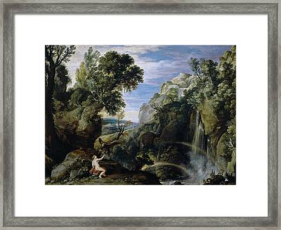 Landscape With Psyche And Jupiter Framed Print by Peter Paul Rubens