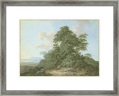 Landscape With Resting Travelers Along A Road Framed Print by MotionAge Designs