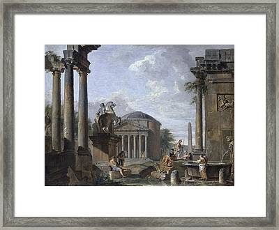 Landscape With Roman Ruins Framed Print by Giovanni Paolo Panini