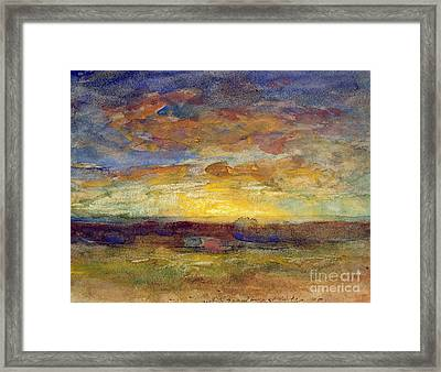 Landscape With Setting Sun Framed Print