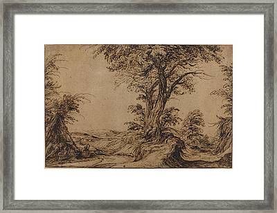 Landscape With Sleeping Peasants Framed Print by Jacques De Gheyn Ii