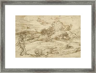 Landscape With St. Theodore Overcoming The Dragon Framed Print by Titian