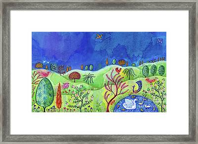 Landscape With Swan Framed Print by Jane Tattersfield