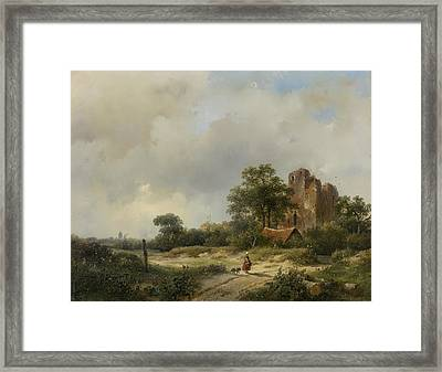 Landscape With The Ruins Of Castle Brederode In Santpoort Framed Print by Andreas Schelfhout