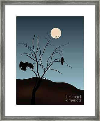 Landscape With Tree Vultures And Moon Framed Print by David Gordon