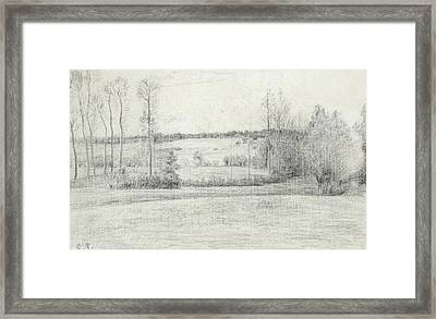 Landscape With Trees Framed Print by Camille Pissarro