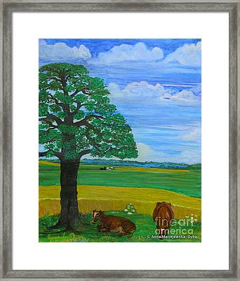 Landscape With Two Cows Framed Print
