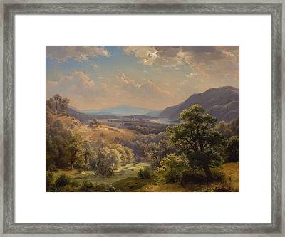 Landscape With Valley And Mountains Framed Print