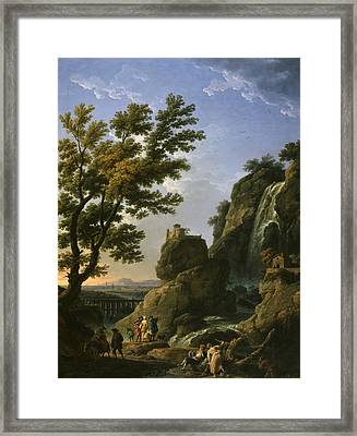 Landscape With Waterfall And Figures Framed Print by Claude-Joseph Vernet