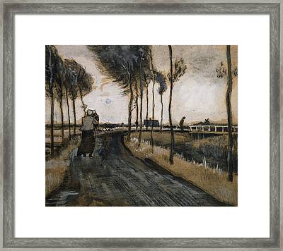 Landscape With Woman And Child Framed Print by Vincent Van Gogh