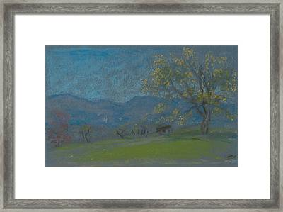 Landscape With Yellow Tree Framed Print